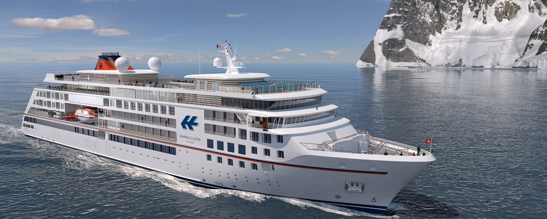 Vessels for Hapag-Lloyd Cruises are designed for cruises in the Arctic, Antarctica and Amazon. They are 138m long, can accommodate 240 passengers.