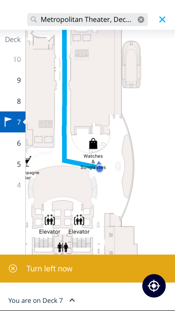 Just like Google Maps, the digital wayfinding on board can guide you to your destination with an accuracy of 5 metres